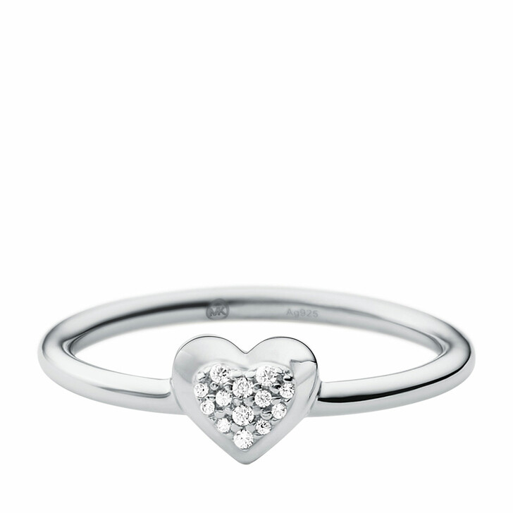 Ring, Michael Kors, Sterling Silver Pavé Heart Focal Ring Silver