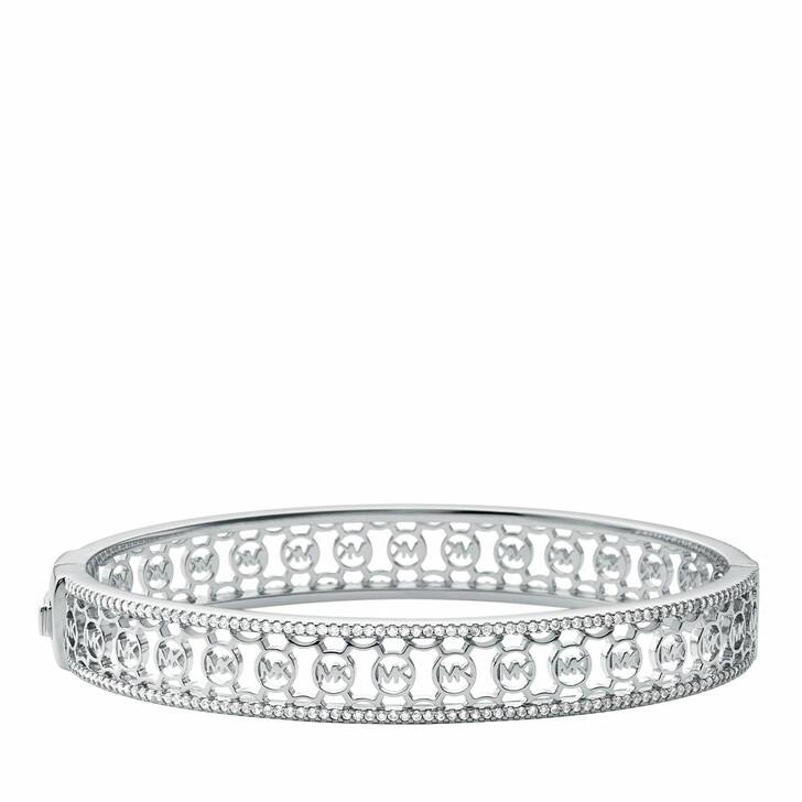 bracelets, Michael Kors, Sterling Silver Monogram Logo Bangle Bracelet Silver