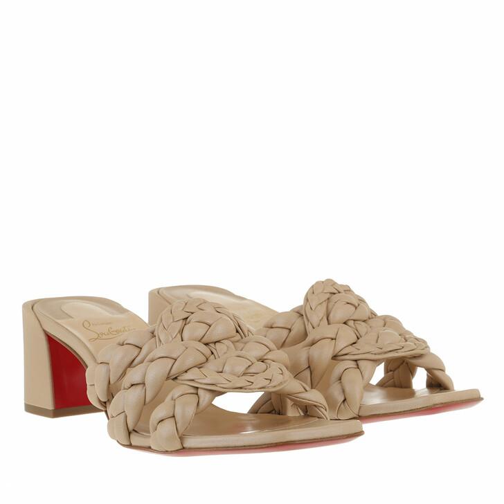 shoes, Christian Louboutin, Marmela Mules 55MM Leather Beige