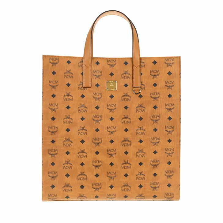 Handtasche, MCM, Klara Visetos Tote Medium   Cognac