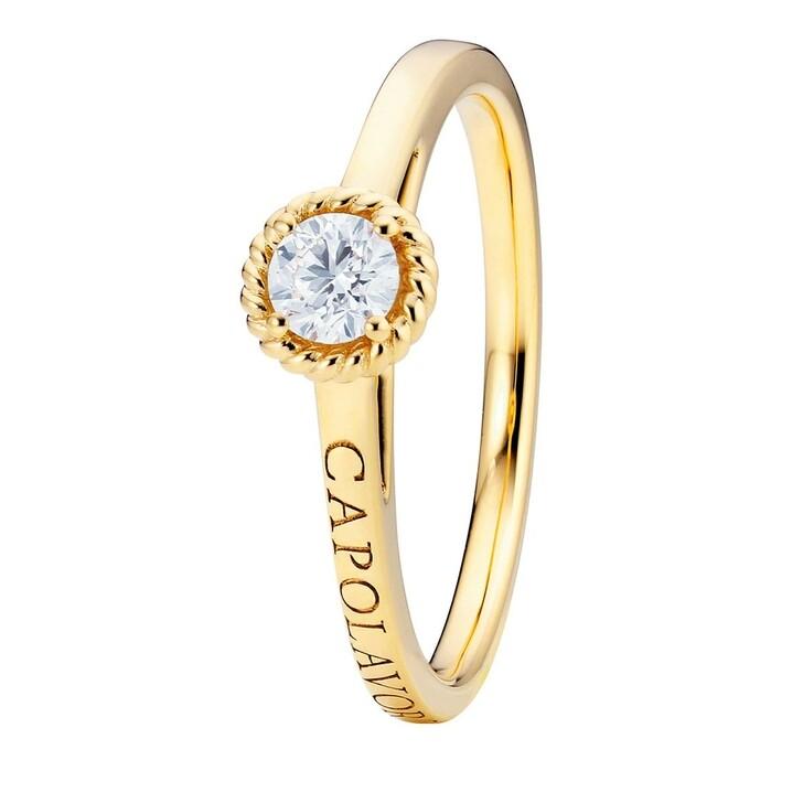 "rings, Capolavoro, Ring ""Amore Mio"" Diamond Brilliant Cut 18K Yellow Gold"