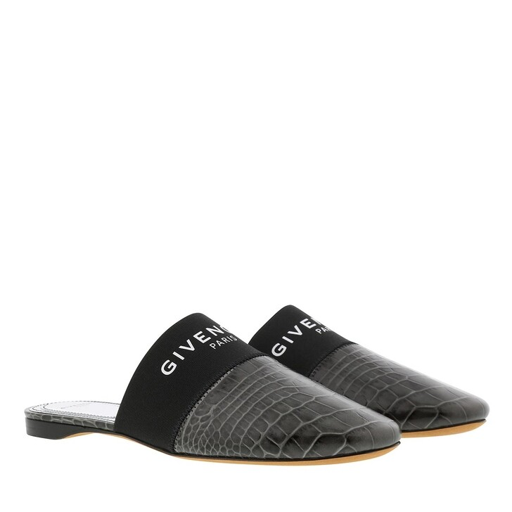 Schuh, Givenchy, Flat Mules Crocodile Effect Leather Storm Grey