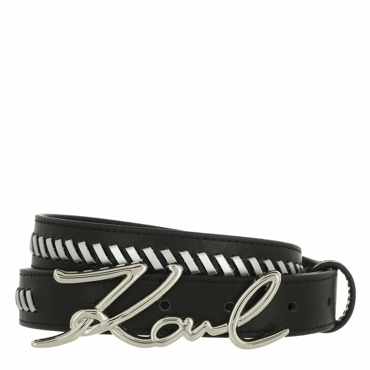 belts, Karl Lagerfeld, Signature Special Belt  Black/Silver
