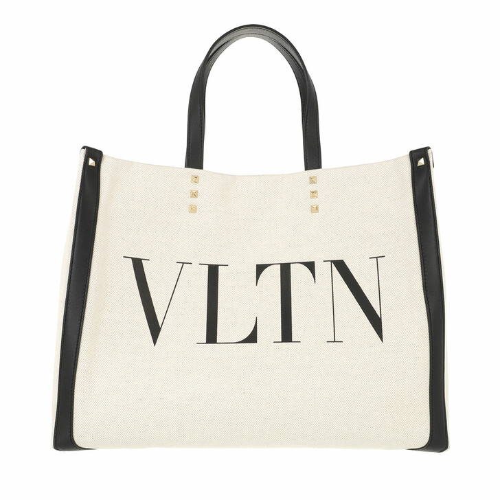 bags, Valentino Garavani, Small Logo Shopping Bag Natural/Black/Black