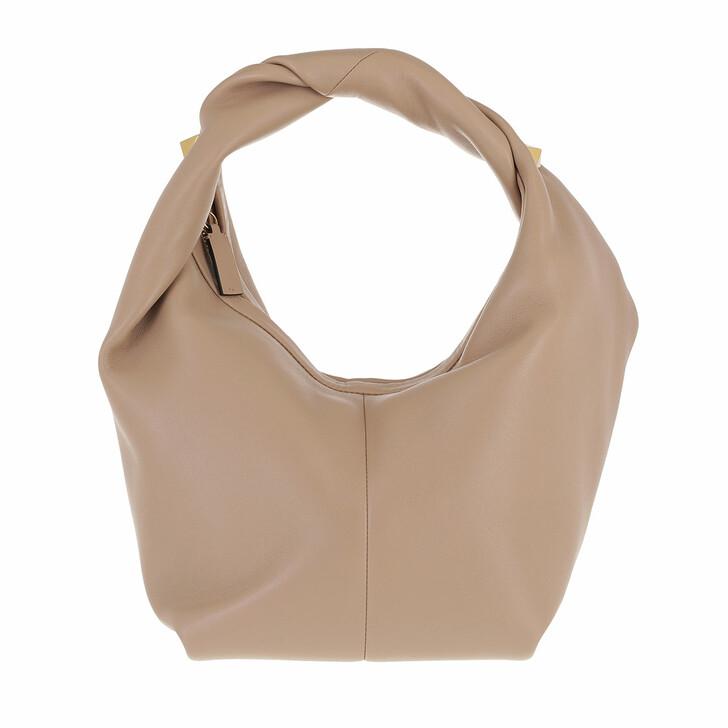 bags, Valentino Garavani, Hobo Bag Leather Nude