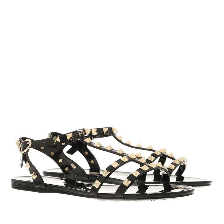 shoes, Valentino Garavani, Rockstud Flat Sandals Rubber Black