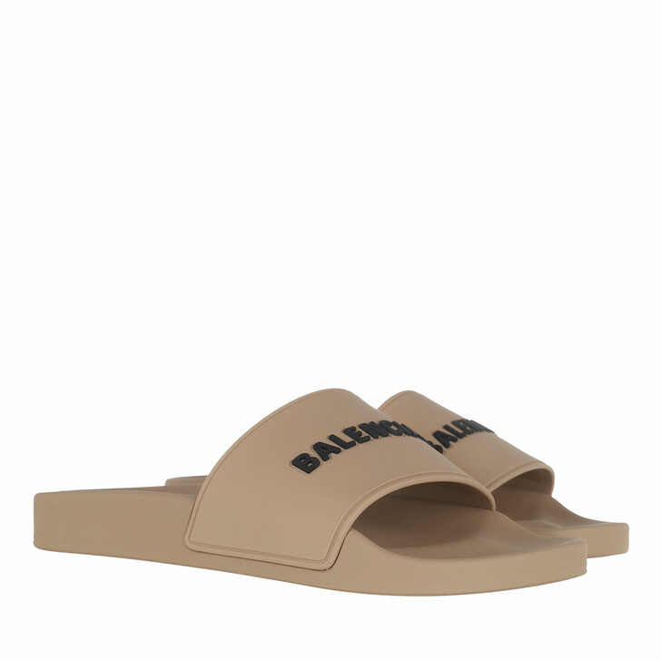Schuh, Balenciaga, Slide Logo Sandals Beige Black