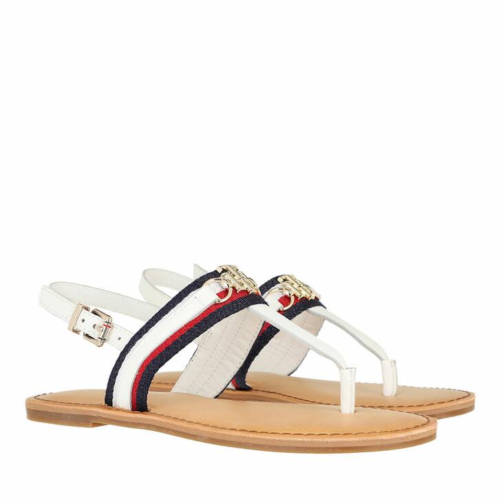 Schuh, Tommy Hilfiger, Shimmery Ribbon Flat Sandals Ecru