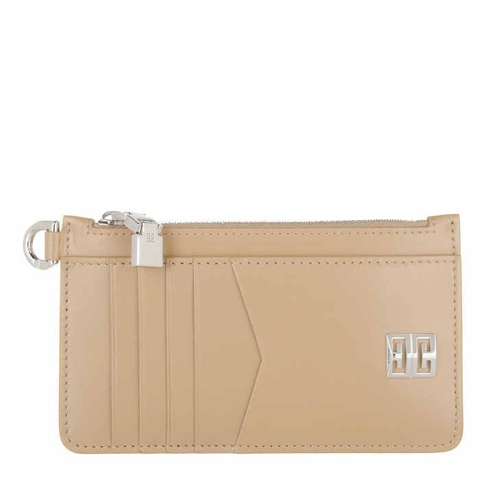 wallets, Givenchy, 4G Cardholder Leather Beige Cappuccino