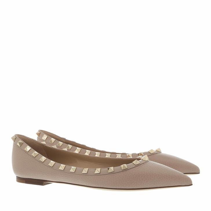 shoes, Valentino Garavani, Rockstud Grained Leather Ballerina Beige