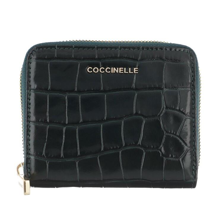 wallets, Coccinelle, Croco Shiny Soft Wallet Leather Mallard Green
