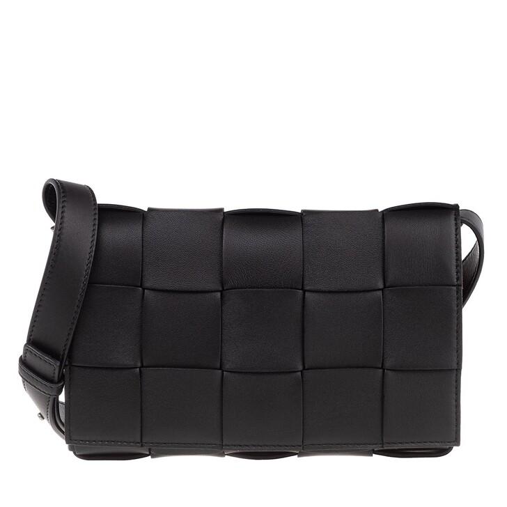 bags, Bottega Veneta, Cassette Crossbody Bag Leather Black