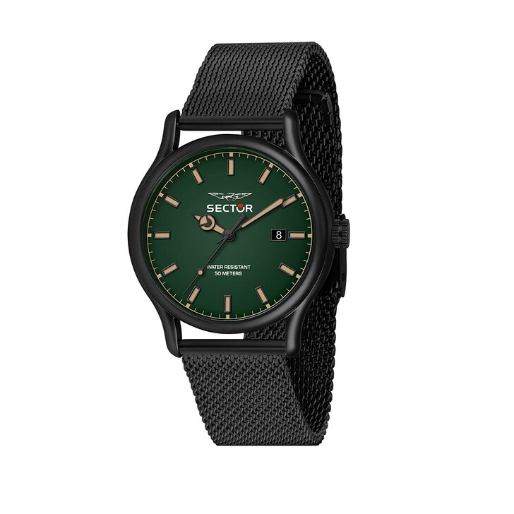 watches, Sector, 660 43Mm 3H Green Dial Mesh Band Black SS Black
