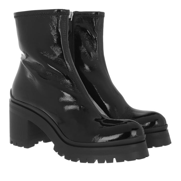 shoes, Miu Miu, Technical Booties Patent Fabric Black