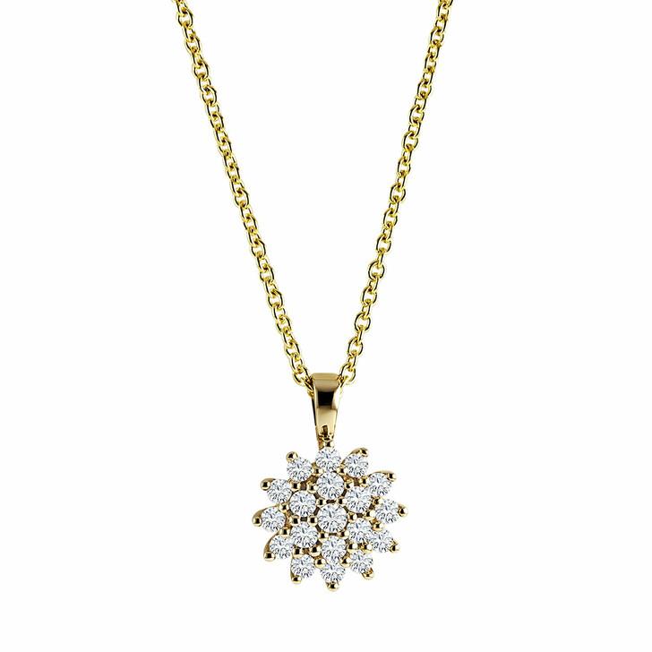 necklaces, diamondline, Pendant/Chain 585 19 Diamonds total approx. 0,25 c Yellow Gold