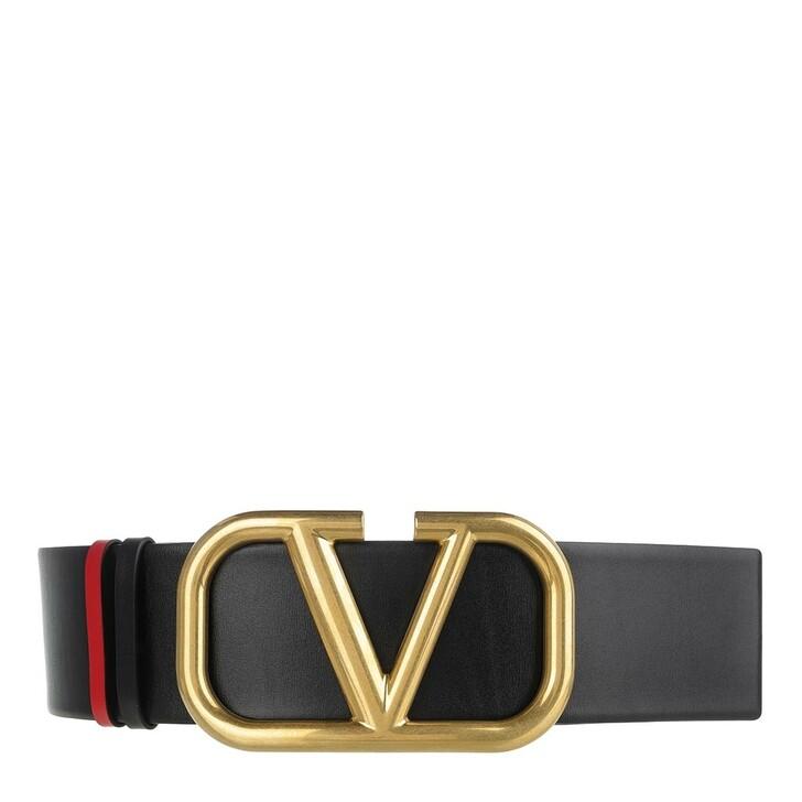 Gürtel, Valentino, Reversible V Logo Belt Glossy Calfskin Black