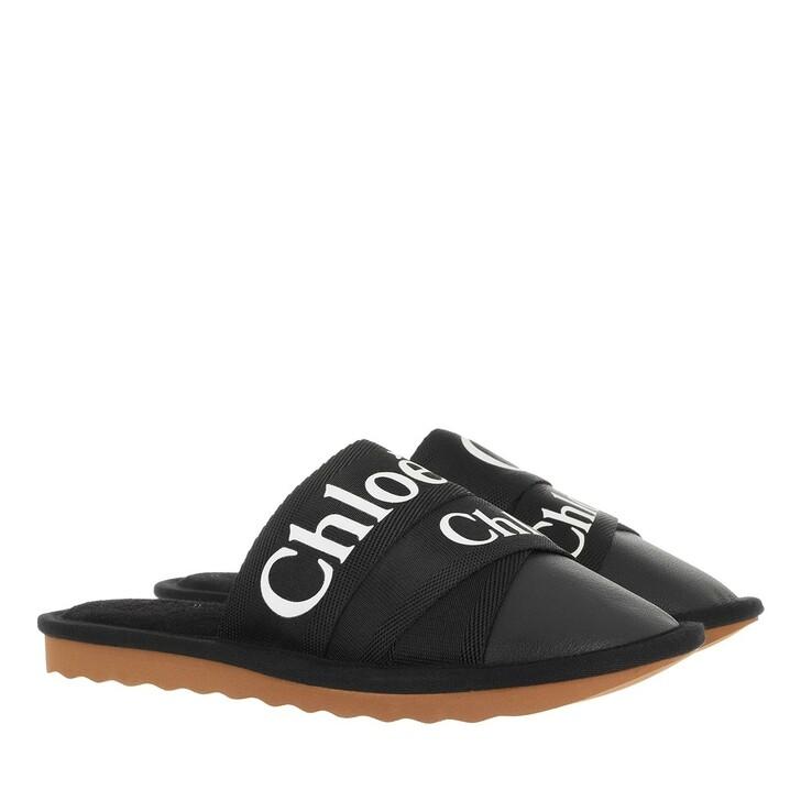 shoes, Chloé, Flat Logo Mules   Black