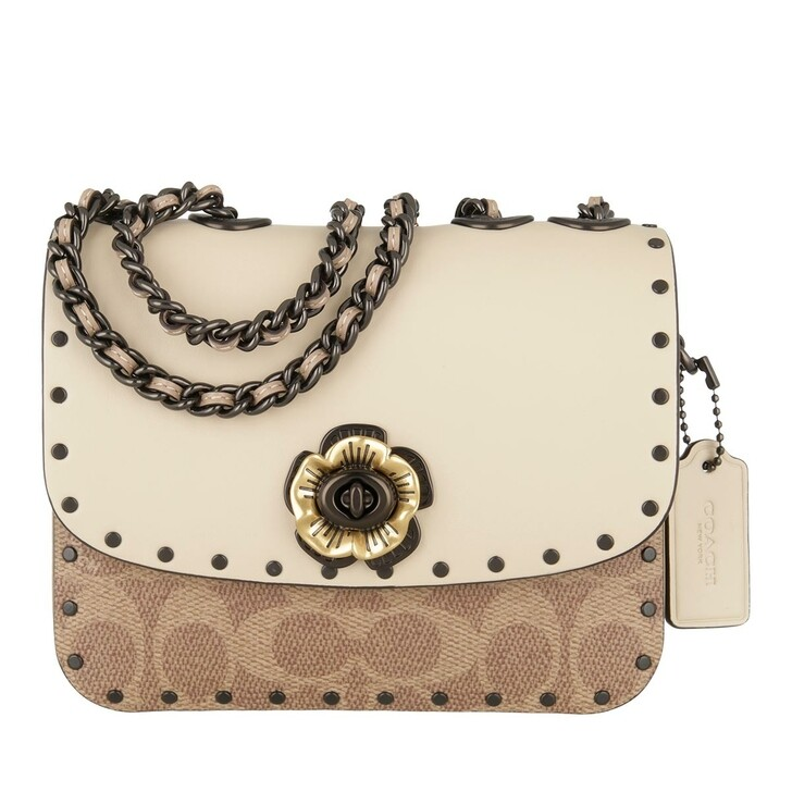 Handtasche, Coach, Coated Canvas Signature Border Rivets Madison Shou V5/Tan Taupe Multi