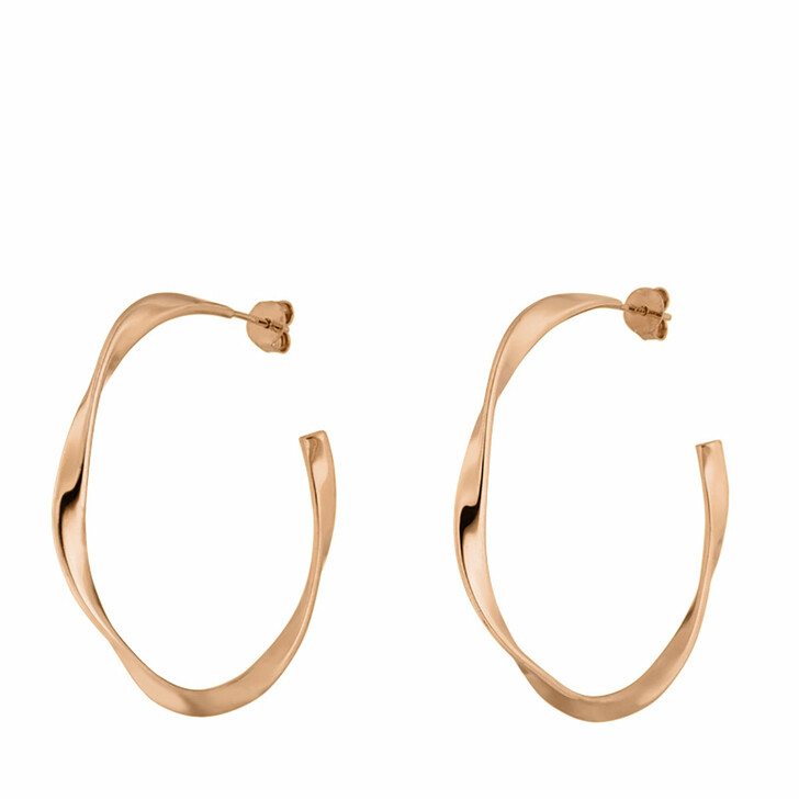 Ohrring, Leaf, Creole Twist 18K Rose Gold-Plated