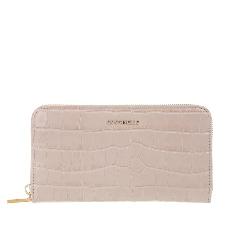 Geldbörse, Coccinelle, Metallic Croco Shiny Soft Wallet Powder Pink