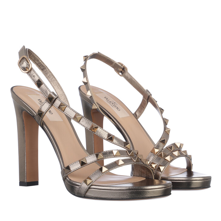 shoes, Valentino Garavani, Rockstud Sandals Leather Sasso