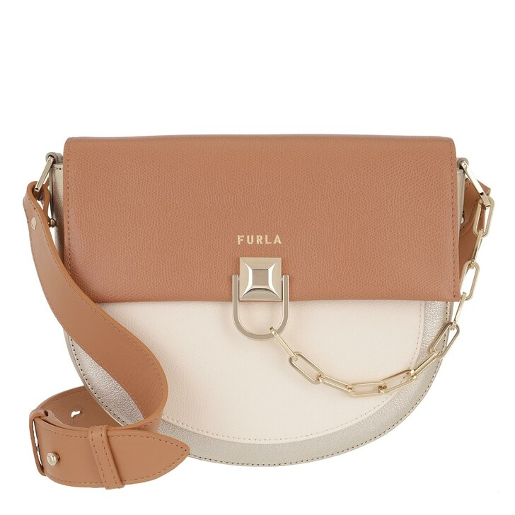 Handtasche, Furla, Furla Miss Mimi' S Crossbody Miele+Pergamena+Color Platino
