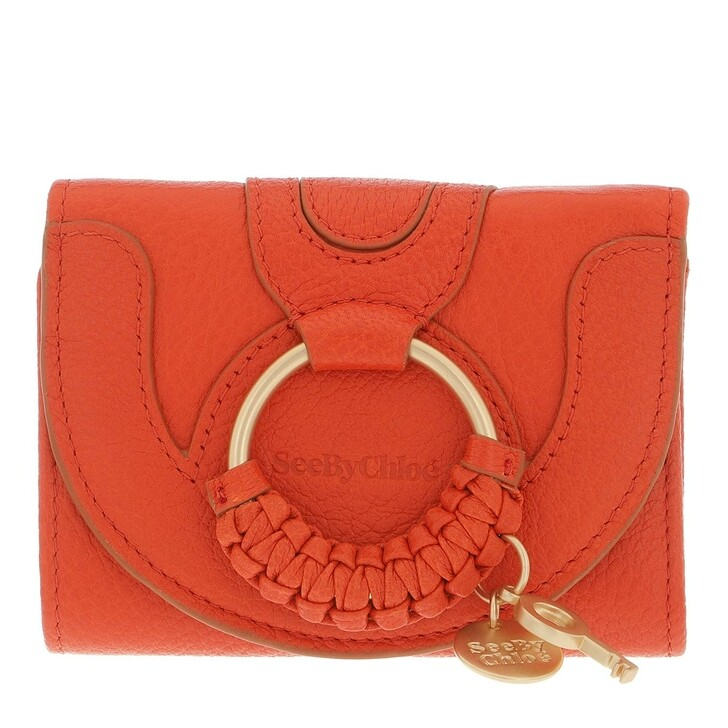 wallets, See By Chloé, Compact Wallet Leather Loving Orange