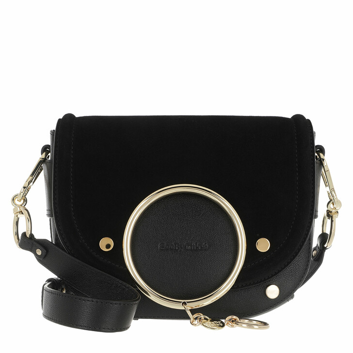 Handtasche, See By Chloé, Mara Shoulder Bag Velvet Leather Black