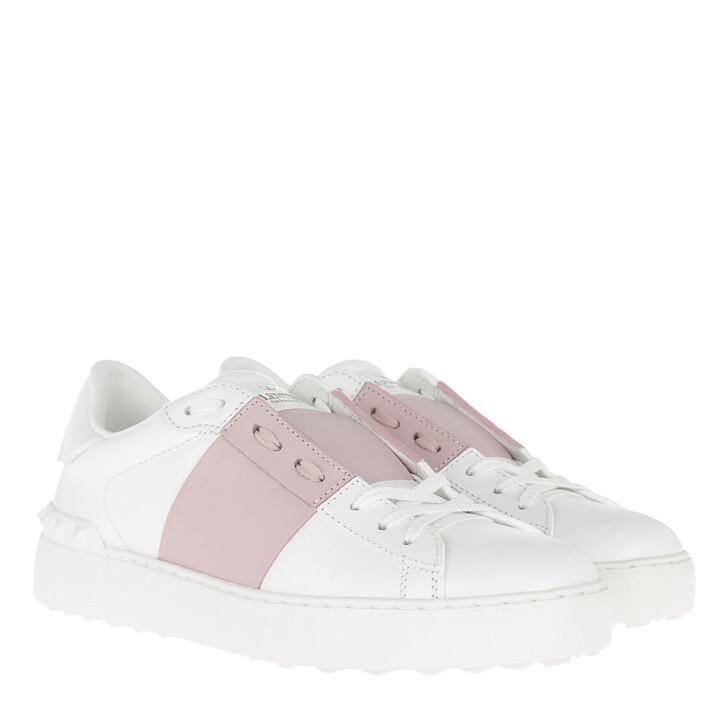 Schuh, Valentino, Bicolor Rockstud Sneaker White Water Rose