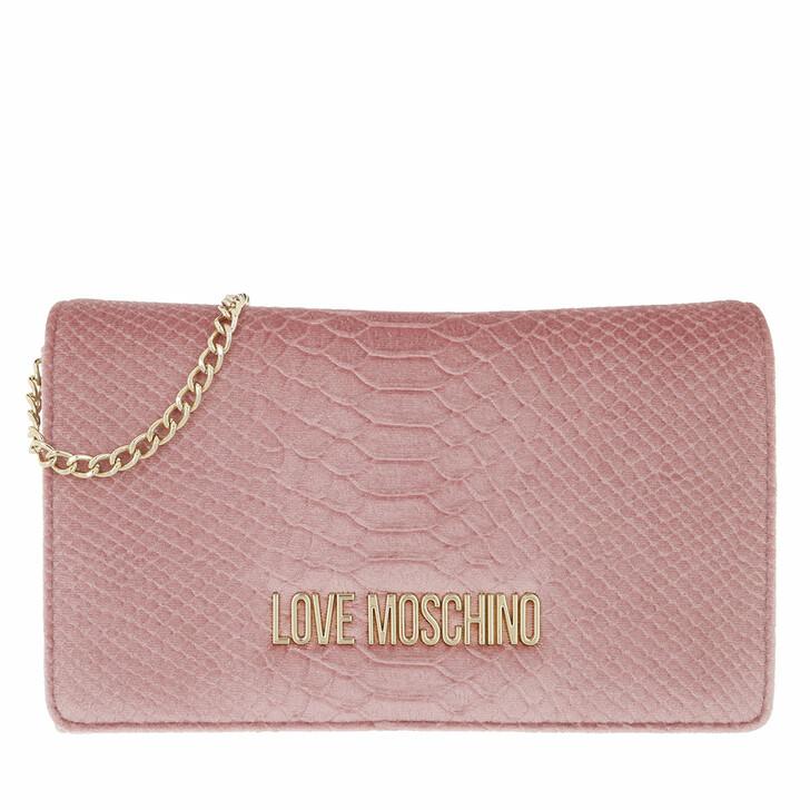 bags, Love Moschino, Borsa Velluto St.Anaconda  Rosa