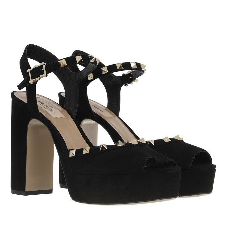 shoes, Valentino Garavani, High Plateau Sandal Suede Black