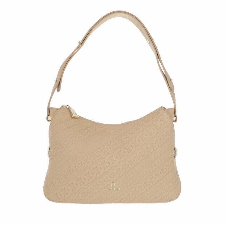 bags, AIGNER, Milano Hobo Bag Almond Beige