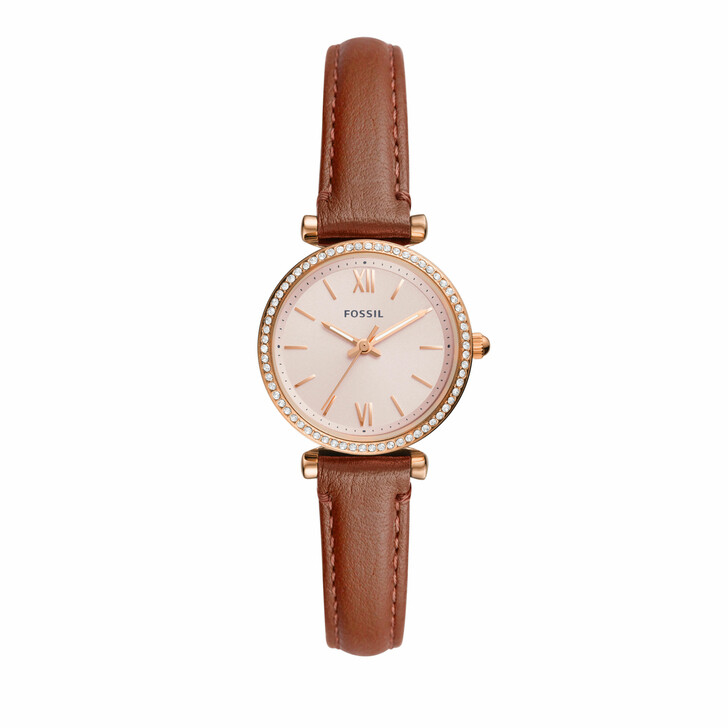 watches, Fossil, Women's Carlie Three-Hand Stainless Steel Watch ES Rose Gold Brown