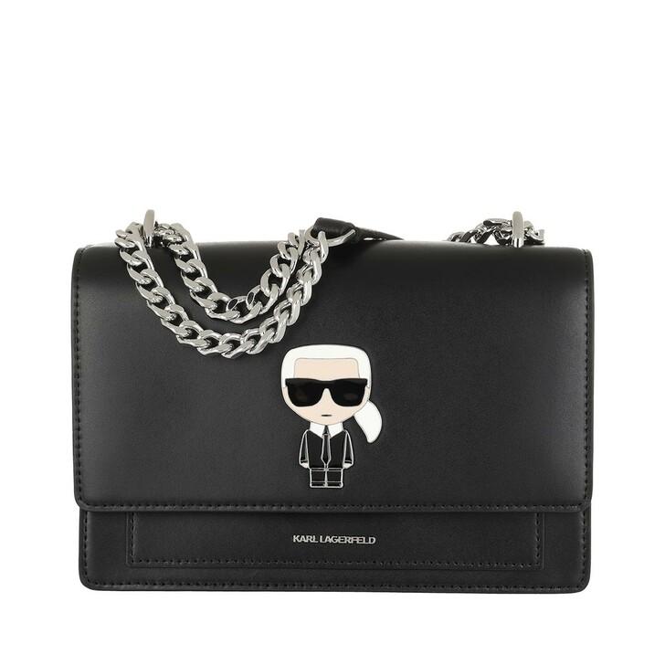 bags, Karl Lagerfeld, K/Ikonik Metal Lock Shlderbag Black