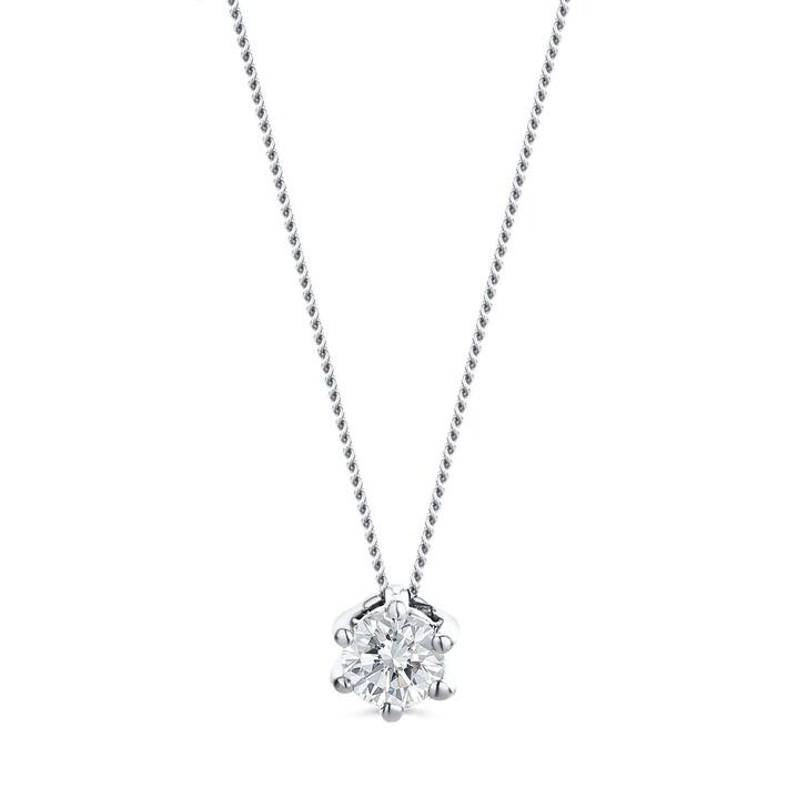 Kette, DIAMADA, 0.25ct Diamond Solitaire Necklace  14KT White Gold