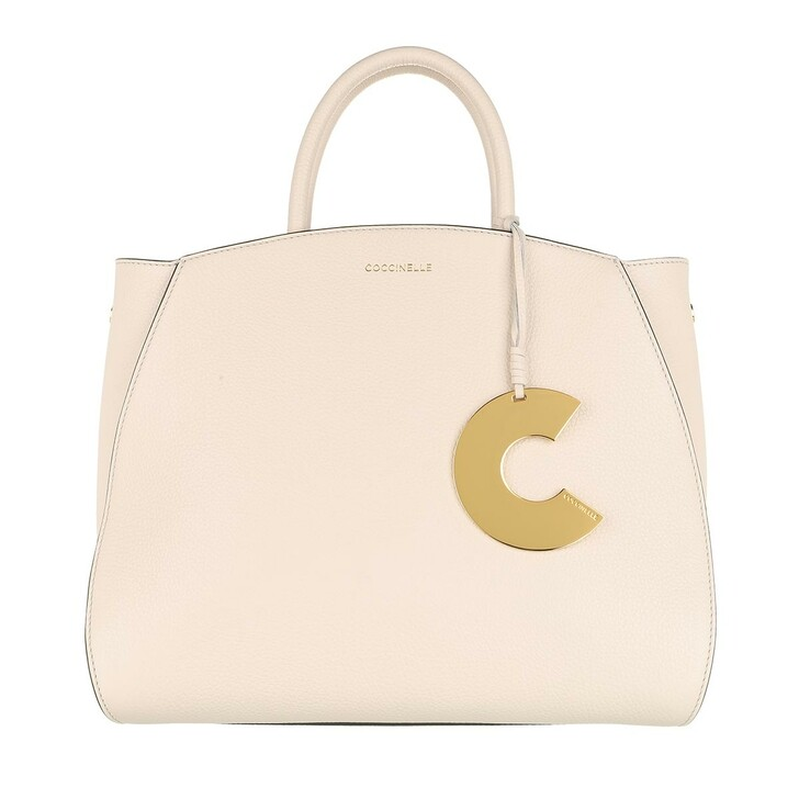 Handtasche, Coccinelle, Concrete Handle Tote Bag Lambskin White