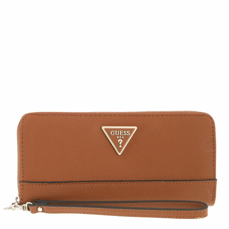 wallets, Guess, Noelle Slg Large Zip Around Cognac