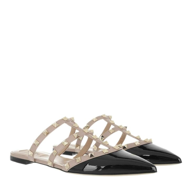 shoes, Valentino Garavani, Rockstud Mules Patent Leather Black Powder