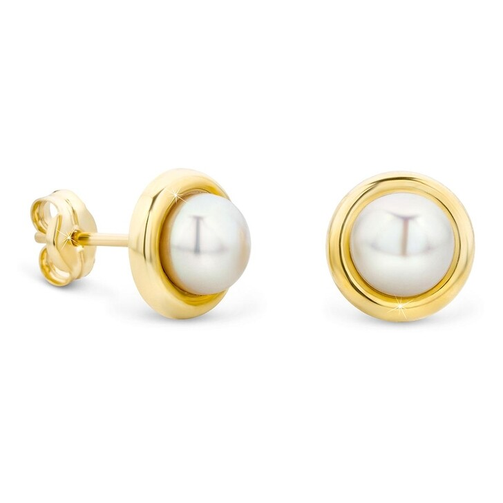 Ohrring, DIAMADA, 14KT Freshwater Pearl Earrings  Yellow Gold