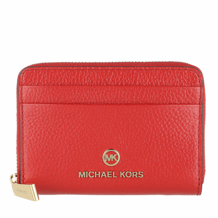 wallets, MICHAEL Michael Kors, Jet Set Charm Coin And Card Wallet Leather Bright Red