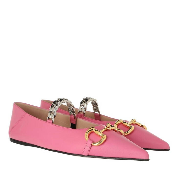 Schuh, Gucci, Deva Horsebit Ballerinas Leather Pink Tropical