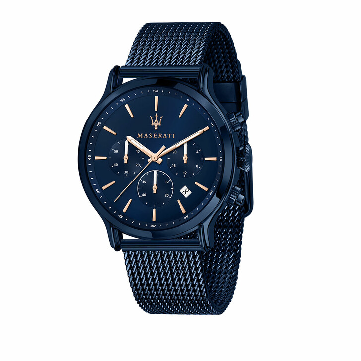 watches, Maserati, Blue Edition 3h Dial Mesh Blue