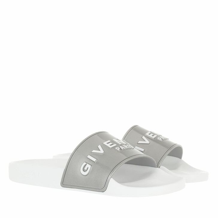 Schuh, Givenchy, Logo Flat Sandals Silver