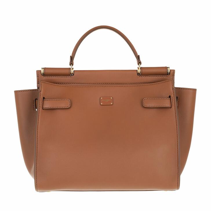 bags, Dolce&Gabbana, Sicily Medium Top Handle Bag Leather Brown