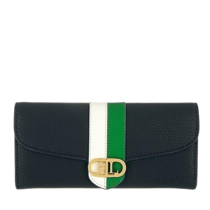 wallets, Lauren Ralph Lauren, Logo Cont Wallet Large Lauren Navy/Snow White/Antibes Green