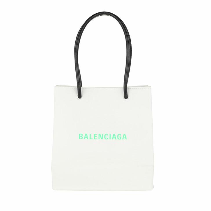 Handtasche, Balenciaga, Sharp Clutch With Pocket On Chain Leather White/Light Green