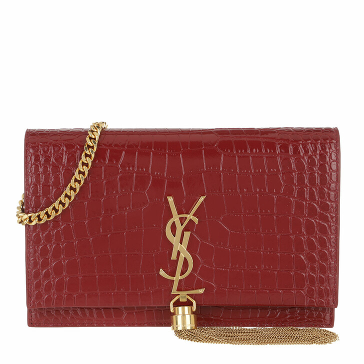 wallets, Saint Laurent, Kate Monogramme Wallet On Chain Opyum Red