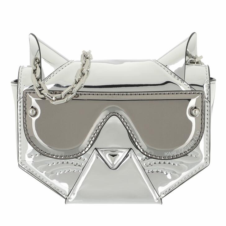 Handtasche, Karl Lagerfeld, Cyber Choupette Flap Crossbody Silver