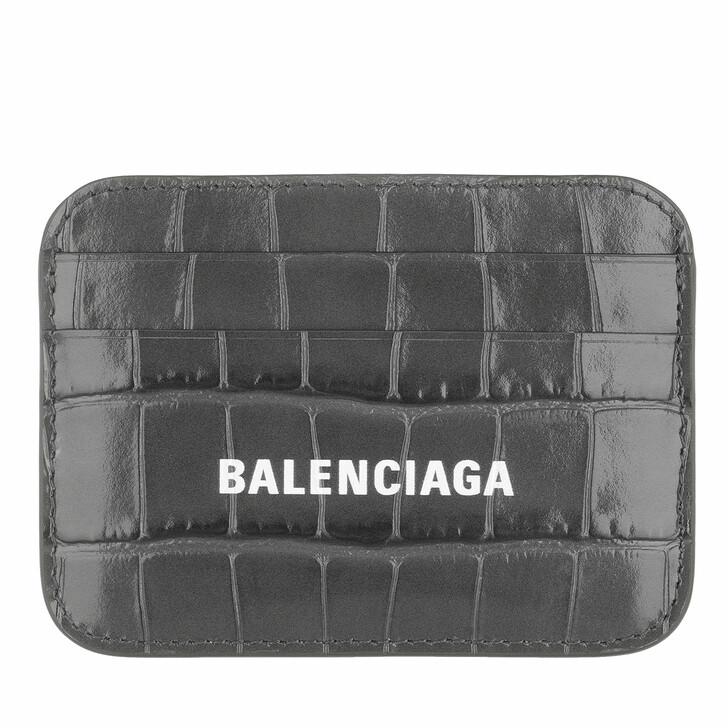 Geldbörse, Balenciaga, Logo Card Holder Dark Grey White