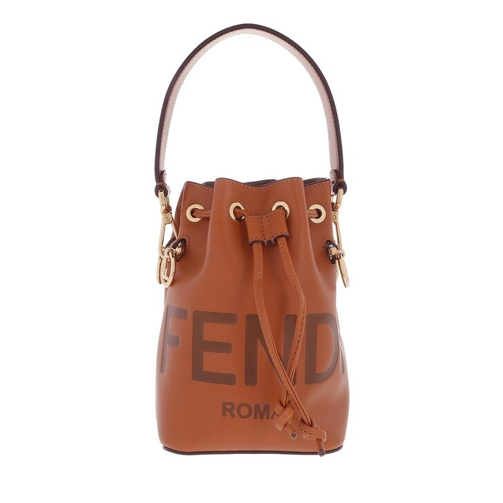 Handtasche, Fendi, Mini Logo Bucket Bag Leather Brown